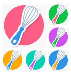 Whisk icons with shadow collection vector