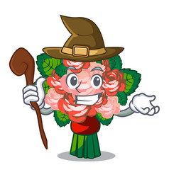 Witch flower bouquet on isolated with mascot vector