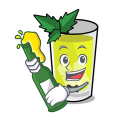 With beer mint julep mascot cartoon vector
