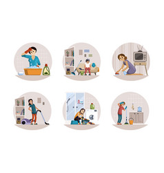 Women tired domestic work set girl with vacuum vector