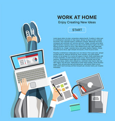 Work at home office concept with man vector