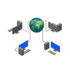 world computer network computational technologies vector image