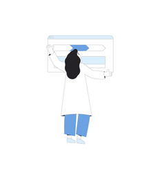 Young scientist female character standing vector