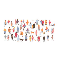 crowd of people dressed in outerwear isolated on vector image vector image