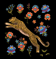 leopard with flowers vector image vector image