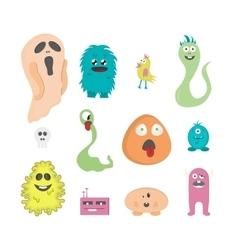 Set of twelve cartoon cute monsters on white vector image