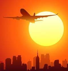 Airplane and sun vector