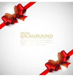 background with red bows and ribbons vector image