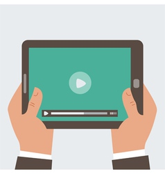 Businessman holding tablet computer with video pl vector image