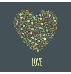 colorful floral heart vector image