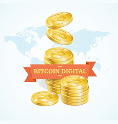 realistic detailed 3d golden bitcoins digital vector image