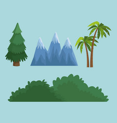 tree bush and mountain vector image vector image