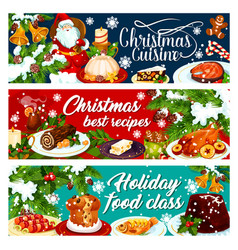 christmas dinner banner with winter holiday food vector image