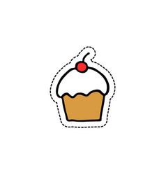 cupcake doodle icon vector image