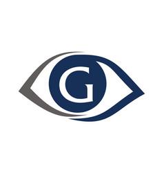 Eye care solutions letter g vector