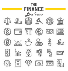 finance line icon set business symbols collection vector image