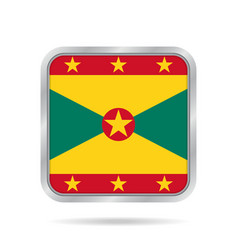 Flag of grenada shiny metallic gray square button vector
