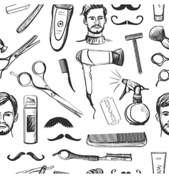 Hand drawn retro barbershop seamless pattern vector image vector image