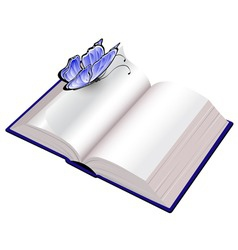 open book with butterfly vector image