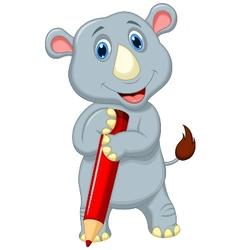Rhino cartoon holding pencil vector image vector image