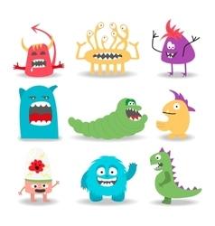 Set of nine cartoon cute monsters on white vector image