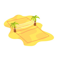 cartoon icon of volleyball net on coconut trees on vector image vector image