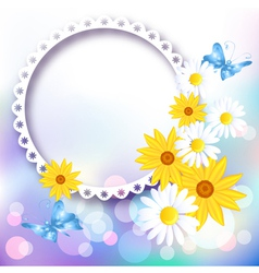Flowers and photo frame vector image