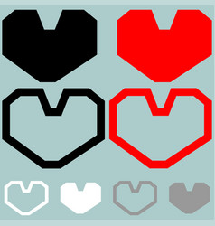 heart red black white colour vector image vector image