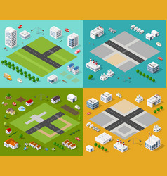 isometric set 3d city vector image vector image
