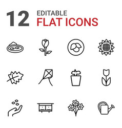 12 flower icons vector image