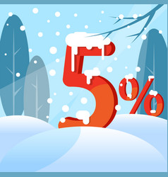 a discount five percent figures in the snow vector image
