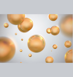 Abstract background with glossy golden spheres vector