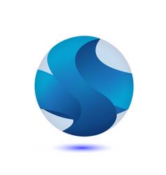 abstract blue globe logo vector image