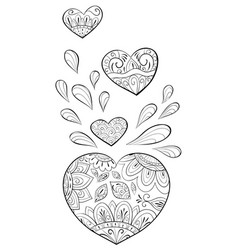 adult coloring bookpage a group of hearts image vector