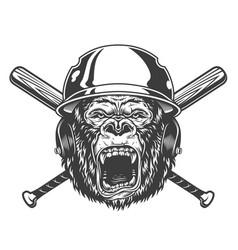 angry gorilla head in baseball helmet vector image