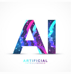 artificial intelligence logo plexus effect vector image