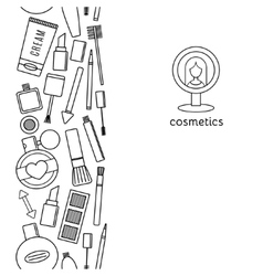 Banner vertical make up and cosmetics set vector image