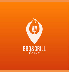 barbecue and grill logo bbq fire flame n ite vector image