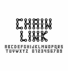 Bike chain font alphabet letters and numbers vector