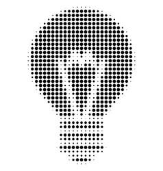 Black pixel electric bulb icon vector