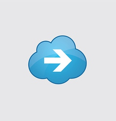 Blue cloud arrow icon vector image