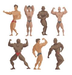 bodybuilder sportsman characters muscular vector image