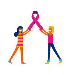 breast cancer awareness friends with pink ribbon vector image