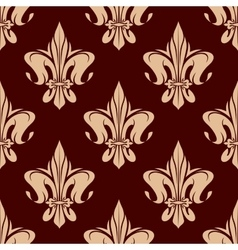Brown seamless fleur-de-lis pattern vector image