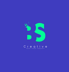 bs letter logo design with negative space concept vector image