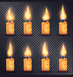 candles fire animation on transparent background vector image