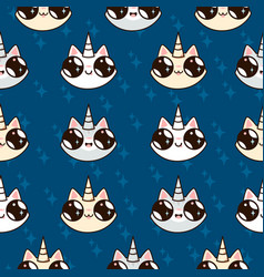 cartoon cats unicorns childrens fairy pattern vector image