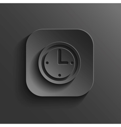 Clock icon - black app button vector