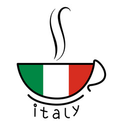 Coffee cup with the italian flag vector