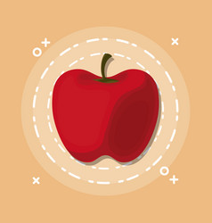 colorful tasty apple cartoon vector image